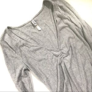Free People Gray Ribbed Cozy Up With Me Body Suit